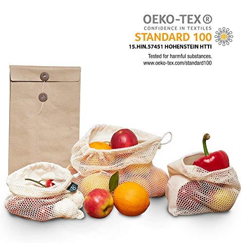 achilles 3er Set Obst- und Gemüsebeutel, 100% Bio Baumwolle, Öko-Tex Textiles Vertrauen, Umweltfreundliches Gemüse-Netz, Wiederverwendbare Obst-Beutel Einkaufs-Taschen mit Gewichtsangabe