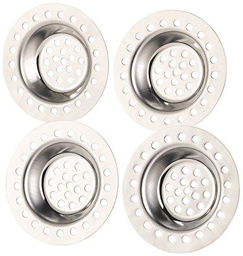 BadeStern Abflusssieb: 4er-Set Edelstahl-Abfluss-Siebe für Dusche, Badewanne, Waschbecken (Haarsieb Badewanne)
