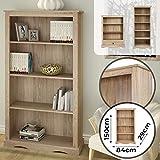 miadomodo libreria scaffale - 4 ripiani, 84x29x150cm, resistente, aspetto naturale - mobiletto per libri, armadietto libreria, archiviazione