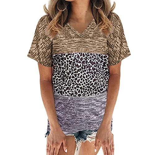 SLYZ Blusa De Camiseta De Manga Corta con Cuello En V Y Estampado De Leopardo De Moda De Talla Grande para Mujer De Verano