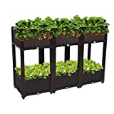 VINGLI Set of 6 Raised Garden Bed, Self-Watering Plastic Planter for Indoor Outdoor Vegetables, Fruits, Potato, Flowers, All Weather