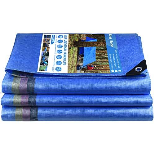 Strapazierfähige Abdeckplane, wasserdicht, blau, gewebt, mit verstärkten Ösen, 220 g/m², UV-& reißfest, Mehrzweck-Planen für Outdoor, Camping, Bodenmöbelabdeckung (2 m...