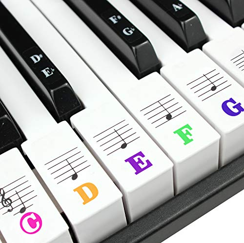 Piano Keyboard Stickers for 88/61/54/49/37 Key. Colorful Large Bold Letter Piano Stickers. Perfect for kids Learning Piano. Multi-Color,Transparent,Removable