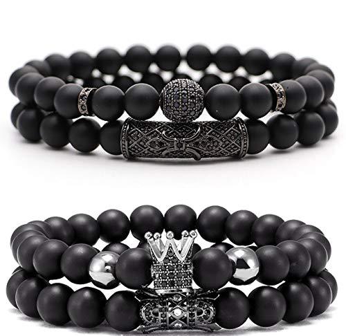 JEWPARK 4 Pcs Crown King Bracelets for Men Black Matte Onyx Cool Natural Stone Bracelets Set B