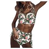 Bikinis Mujer Sexy Brasileño brasileños Tiro Alto Halter con Espalda Conjunto de Traje De Baño Dos Pieza Ropa de Baño calzedonia con Relleno Push up Bikinis Mujer Tanga 2021 Retro Tankinis vikinis
