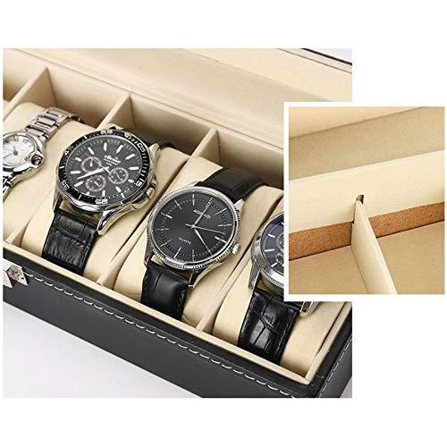 6 Slot Leather Watch Box Display Case Organizer Glass Jewelry Storage Black,Men'S Watch Display Box 0219 (Color : Black)