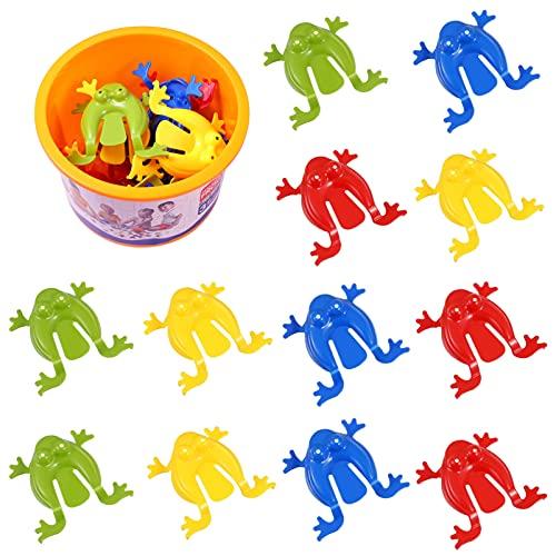 TOYANDONA 12 Piezas de Ranas Saltarinas Divertidos Juguetes de Rana Saltarinas para Niños Divertidos Regalos de Fiesta Rellenos de Bolsas de Golosinas (Colores Mezclados)