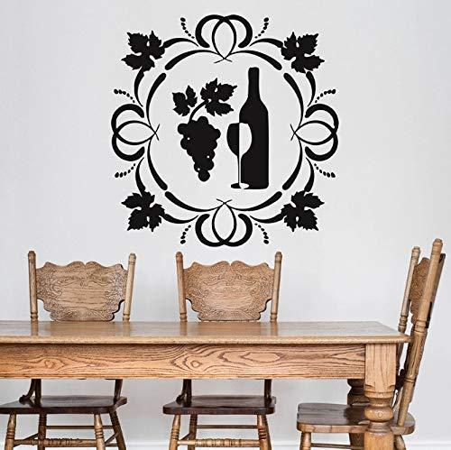 Weinflasche Wandaufkleber Traubenglas Becher Getränk Alkohol Restaurant Weingut Inneneinrichtung Vinyl Fenster Aufkleber Kunst Wandbild 42X42 Cm