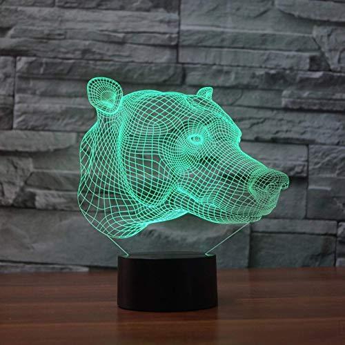 Cabeza de perro 3D luz nocturna juguete para niños regalo LED 3D control remoto lámpara de mesa táctil Luz LED intermitente de 7 colores como decoración de fiesta