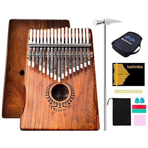 Kalimba 17 Profi-Schlüssel Zoll Piano Instrument Kinder mit Kalimba Songbook und Tuning Hammer und Tasche wasserdicht EVA und Daumenspikes für Mbira Sanza Massivholz von KOA/Akazien-Muspor