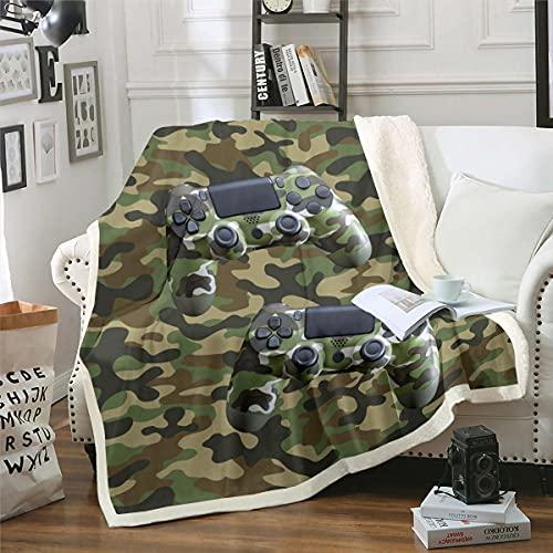 Manta de camuflaje Gamepad Sherpa para niños, adolescentes, jóvenes, videojuegos, manta de forro polar, diseño de camuflaje para juegos, tema militar, manta de felpa para sofá...