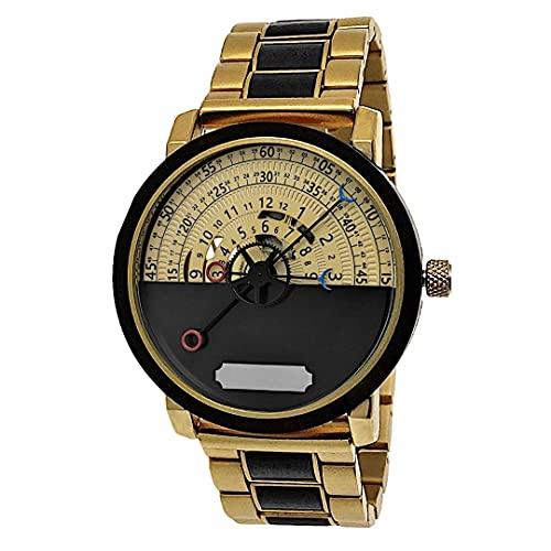 Holzwerk Germany - Reloj automático para hombre (fabricado a mano, madera ecológica, analógico), color dorado, marrón y negro