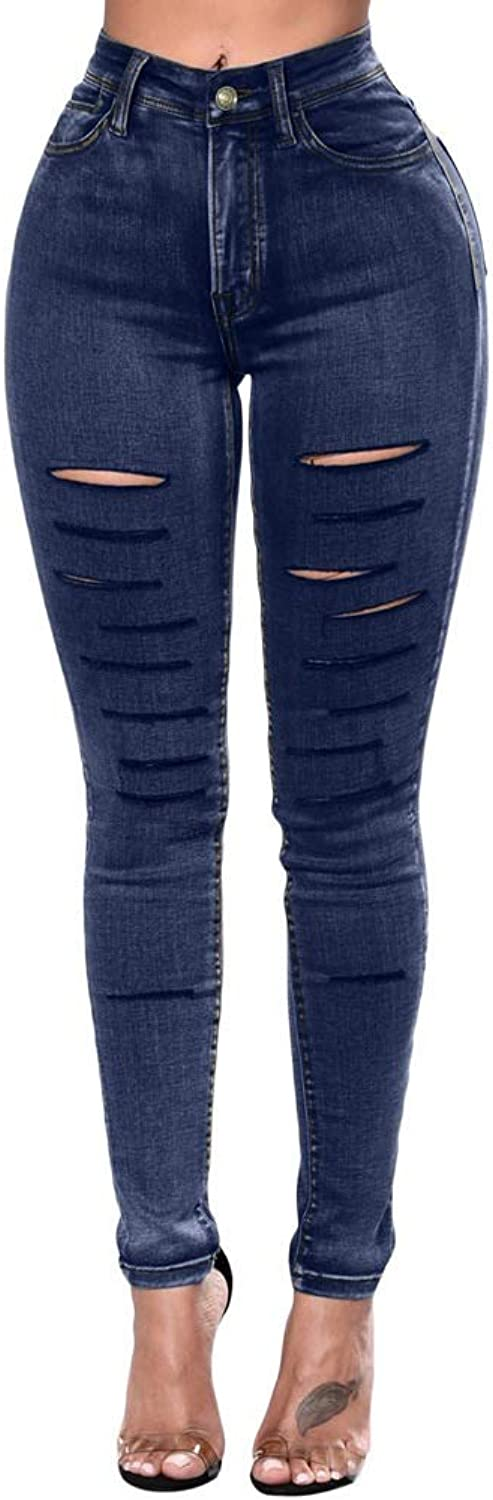 Sylviaan Women's Casual Ripped Holes High Waist Skinny Pants Jeans