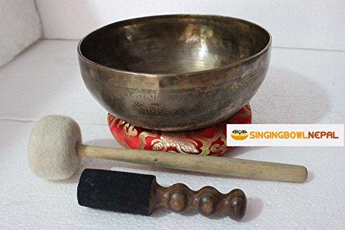 10' Healing Meditation Mantra Carved G Note Singing Bowl, Etching Tibetan Art, Hand Hammered Singing Bowls with Silk Cushion, Gong & Mallet Striker