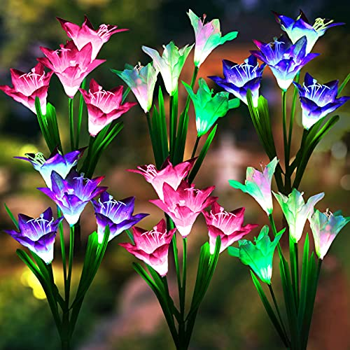 Solar Lights Outdoor Garden, LETMY 6 Pack Upgraded Solar Garden Lights with 24 Lily Flowers, Waterproof Color Changing Outdoor Lights Solar Powered Flower Lights for Patio Yard Garden Decorations