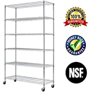 """6 Tier Wire Shelving Rack,Steel Shelf 48"""" W x 18"""" D x 82"""" H Adjustable Storage System with Casters/Wheels and Feet Levelers,Garage Shelving Unit, Storage Shelving Rack,Kitchen/Office Rack (Chrome)"""