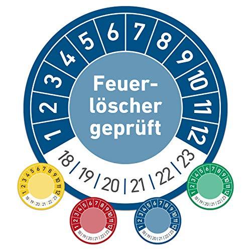 Feuerlöscher geprüft Prüftermin Wartungsplakette Prüfplakette Wartung 30mm Ø blau (100 Stück)