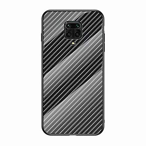 Miagon Glas Handyhülle für Xiaomi Redmi Note 9 Pro,Kohlefaser Serie 9H Panzerglas Rückseite mit Weicher Silikon Rahmen Kratzresistent Bumper Hülle für Xiaomi Redmi Note 9 Pro,Schwarz