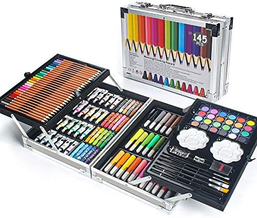 MIAOKE 145 Piece Art Set Deluxe Mega Aluminum Box with Colored Pencils Markers Acrylic Watercolor product image