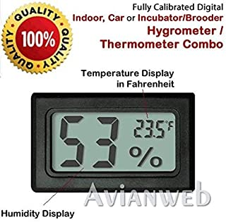 Avianweb AV-1951HT Digital Mini Instant-Read Temperature (Fahrenheit) & Humidity Gauge Thermometer (Hygrometer) Most Popular Applications for Cars, Incubators and Brooders, Black