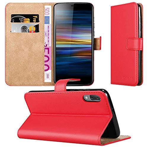 MAA Schutzhülle für Sony Xperia L3 (Leder, Magnetverschluss, Kartenfach, Ständer), Rot