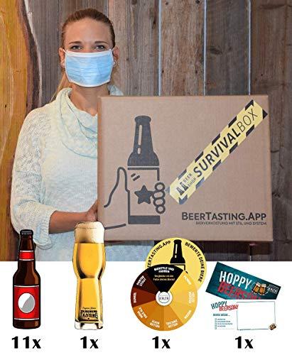 Bier Survival Box für Männer | 11 Bier-Spezialitäten von privaten Brauereien | 1 Verkostungsglas | 1 Grußkarte