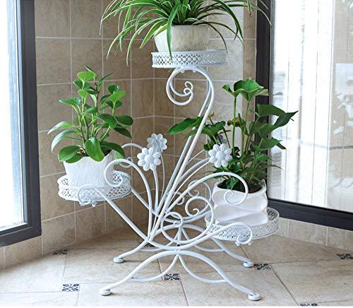 Support de fleurs Fleur Plateau Multi-étages Espace intérieur en Fer forgé étagère Balcon Salon Plancher Fleur Pot Rack Trois Couleurs en Option (Couleur : Blanc)