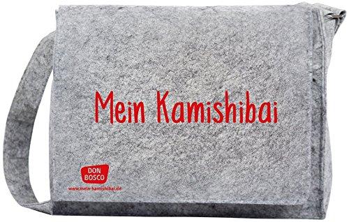 """Umhängetasche \""""Mein Kamishibai\"""" aus grauem Filz, mit längenverstellbarem Tragriemen und langem Überwurf: Schützt Ihr Kamishibai vor Kratzern auf dem ... (Zubehör für das Erzähltheater Kamishibai)"""