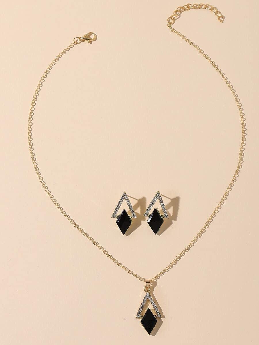 ZHAWE Women's Jewelry Set Safety and trust Classic Series Geometric Rhinestone 1pc Decor