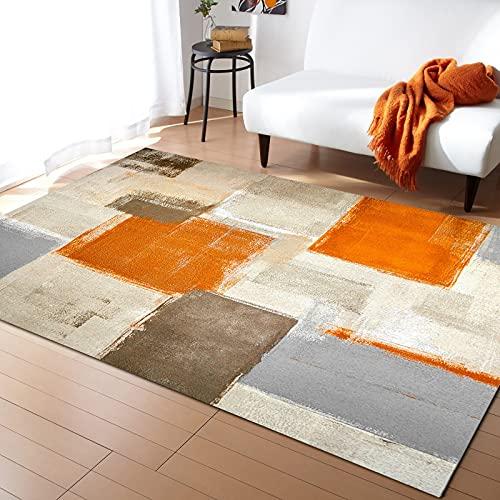 Alfombra Naranja geométrica Abstracta de Pintura al óleo para Dormitorio Alfombra de cabecera para el hogar Alfombra de Sala de Estar Alfombra de Yoga 80x120cm