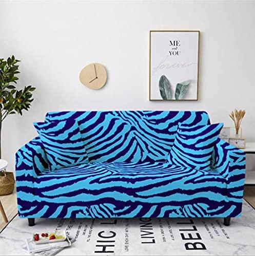 Patrón de Rayas Azules Funda de sofá de 2 Plazas Funda Elástica para Sofá Poliéster Suave Sofá Funda sofá Antideslizante Protector Cubierta de Muebles Elástica
