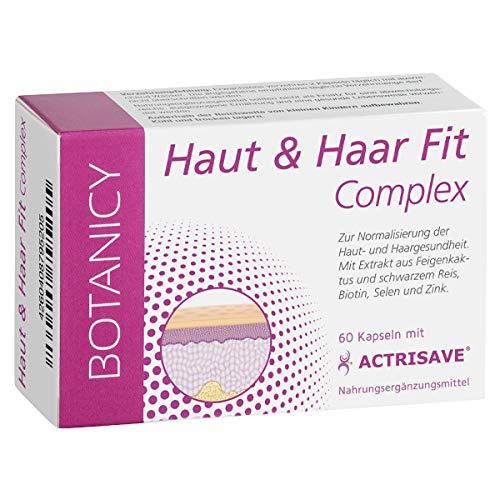 HAUT UND HAAR FIT COMPLEX, natürliche Hilfe für Haut und Haar, bei hormonell bedingten Problemen wie Akne, Pickel und Haarausfall, mit Actrisave, für Männer und Frauen (60 Kapseln, Monatspack)