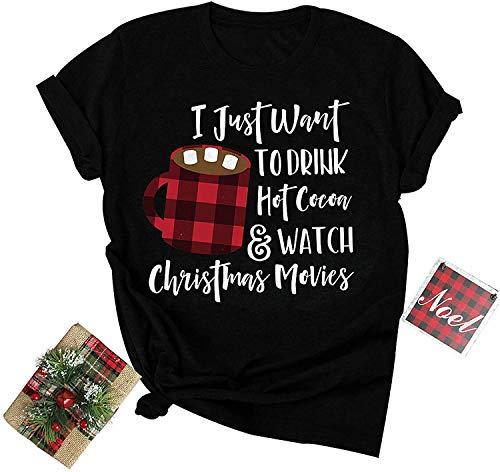 Blue Star Camiseta de Navidad para mujer y niña adolescente con estampado de letras de café, cuello redondo, manga corta