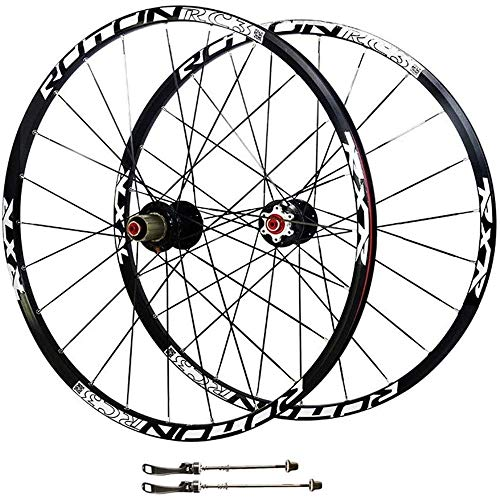 CAISYE 26 Inch Mountain Bike Wheel, Bicycle Wheelset Double Wall Quick Release Rim V-Brake Disc Brake 32 Holes 7-8-9-10 Speed Release Axles Accessory