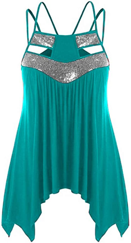 Womens Summer Tops Casual Large Size Sleeveless Sexy Vest Long Fashion XX-Large Blue
