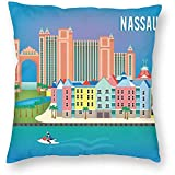DayToy Vintage Travel World Nassau Bahamas Skyline Art