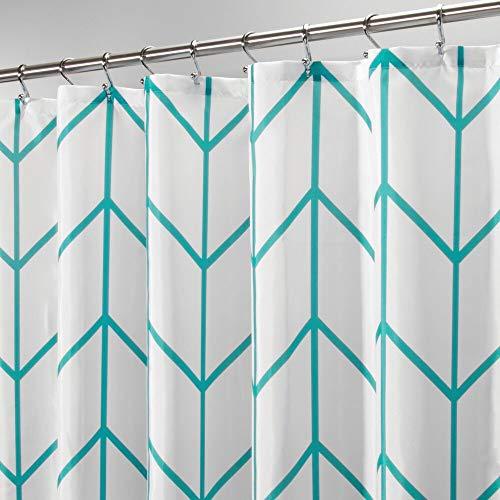 mDesign Luxus Duschvorhang – weicher Badewannenvorhang mit Waffelmuster – pflegeleichter und waschmaschinenfester Badvorhang – dunkelgrau