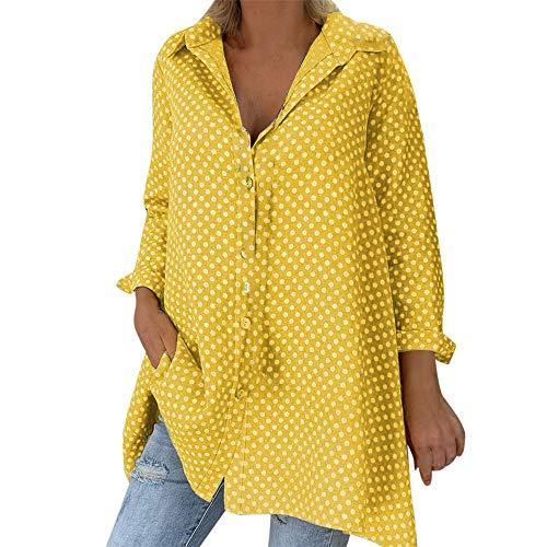Blusa 2019 Casual Mujer Suelta Vintage Manga Larga Polka Dots Camisas Moda Mujer Suumer Tops Blusas con Cuello Superior Tallas Grandes