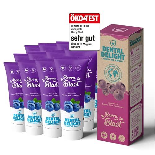 DENTAL DELIGHT Berry Blast (Öko-Test SEHR GUT) | 12x fruchtige Zahnpasta Blaubeere-Minze | vegan klimaneutral ohne Mikroplastik