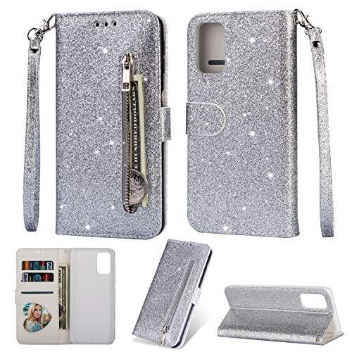 Artfeel Reißverschluss Brieftasche Hülle für Samsung Galaxy S20 FE,Bling Glitzer Leder Handyhülle mit Kartenhalter,Flip Magnetverschluss Stand Schutzhülle mit Handschlaufe-Silber