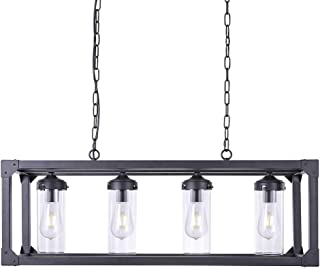 Wellmet Farmhouse Chandelier for Dinning Room, Kitchen Island Lights Rectangle Industrial Lighting Modern 4-Light Pendant Ceiling with Clear Glass Shades,Rustic Lamp for Kitchen Bar Restaurant Barn