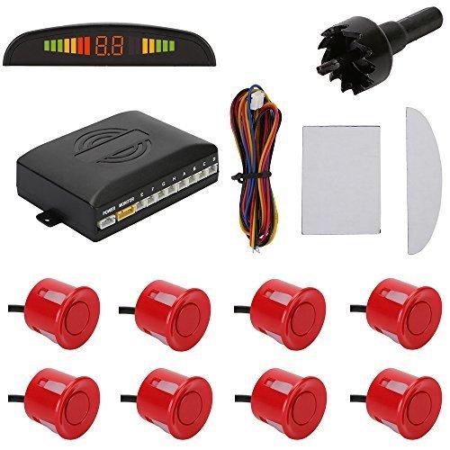 TKOOFN KFZ Summer Einparkhilfe Rückfahrhilfe 8 Sensoren 4 vorne 4 hinten Hinter mit LED Farb Display Auto Parken Sensor System Pieper Radar Kit Rot