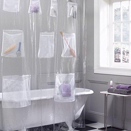 GWELL PEVA Duschvorhang Transparent mit Tasche Wasserdicht Anti-Schimmel mit 12 Haken Wannenvorhang für Badezimmer Transparent