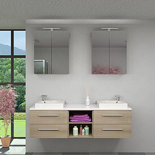 Badmöbel Set City 307 V1 Eiche hell, Badezimmermöbel, Waschtisch 160cm, Beleuchtung Spiegelschrank:2 x 5W LED + 2x Energiebox +80.-EUR