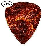 Paquete de 12 Púas para guitarra eléctrica Plectrums Lava Flow Picture Instrument Guitarrista bajo estándar