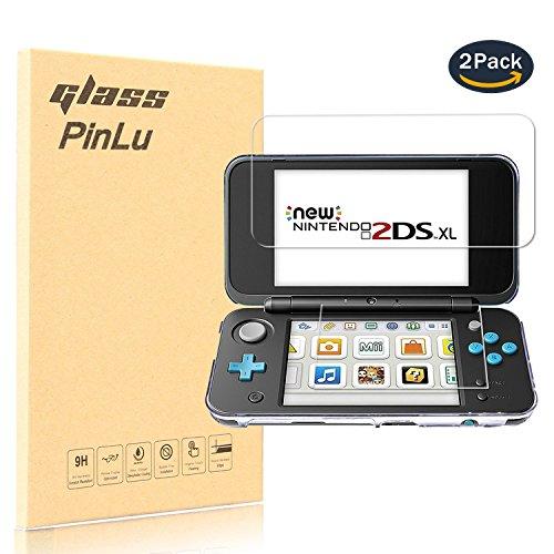 pinlu [2 Pack] Protector de Pantalla de Cristal para Nintendo New 2DS XL/LL Protector Cristal Vidrio Templado para Nintendo New 2DS XL [9H/2.5D/0.26mm, 99% Transparente]