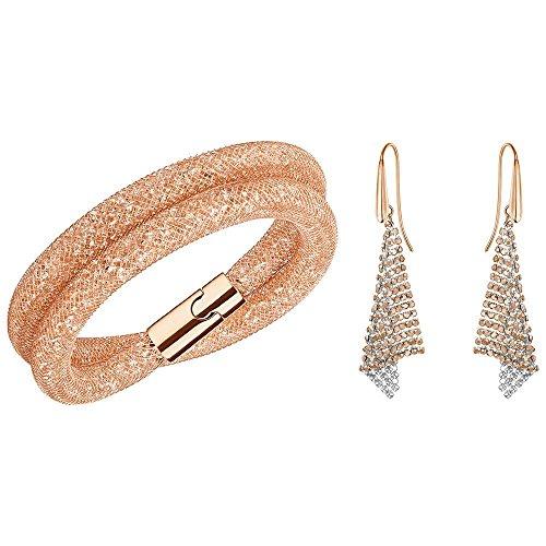 Swarovski Damen-Schmuckset Armband + Ohrringe Stardust Kunststoff gold-5184493