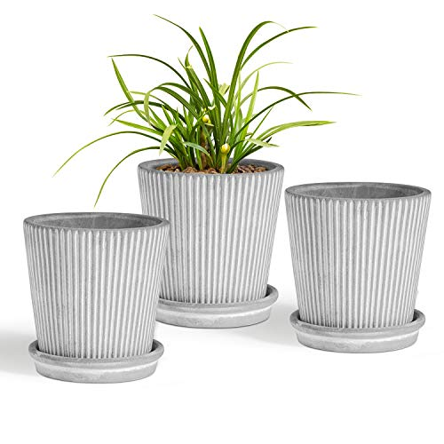 T4U 4 Inch Cement Succulent Planter Pot with Saucer Modern Stripe Pack of 3, Grey Small Concrete Planter with Line Handicraft as Gift, Plant Container for Home Office Table Desk Window Sill Decoration