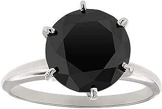 3ct Black Diamond Solitaire Engagement Ring 14K White Gold
