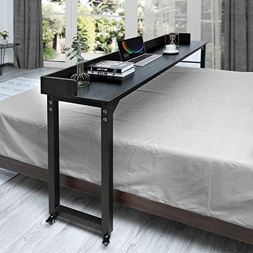 ORAF Overbed Table with Wheels, 70.8'' Rolling Bed Desk for Queen/Full Size Bed, MDF Panel + Metal Legs, Works as Bar Table, Dining Table or Laptop Cart Bed Table